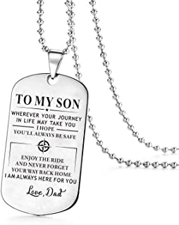 ZXOTTY to My Son Wherever Your Journey in Life Love Dad Dog Tags Necklace Anniversary Birthday Graduation Military Gift