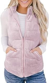 Womens Vest Fleece Zip Up Sleeveless Lightweight Quilted Padded Casual Jackets Outerwear