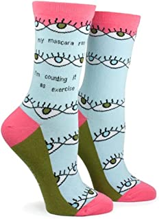 Anne Taintor Women's Colorful Patterned Cotton Crew Socks - Mascara