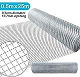 Amagabeli 0.5M X 25M Wühlmausgitter Volierendraht Maschendraht Kaninchendraht 12.7mm verzinkt und...