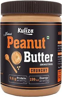 Kuliza All Natural Peanut Butter Crunchy (Unsweetened, Non-GMO, Gluten Free, Vegan) (Crunchy, 1 KG)