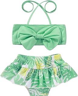 بدلة سباحة ماركة JEELLIGULAR، ملابس سباحة للأطفال البنات ملابس سباحة مخططة بفيونكة ملابس سباحة قطعتين صيفية