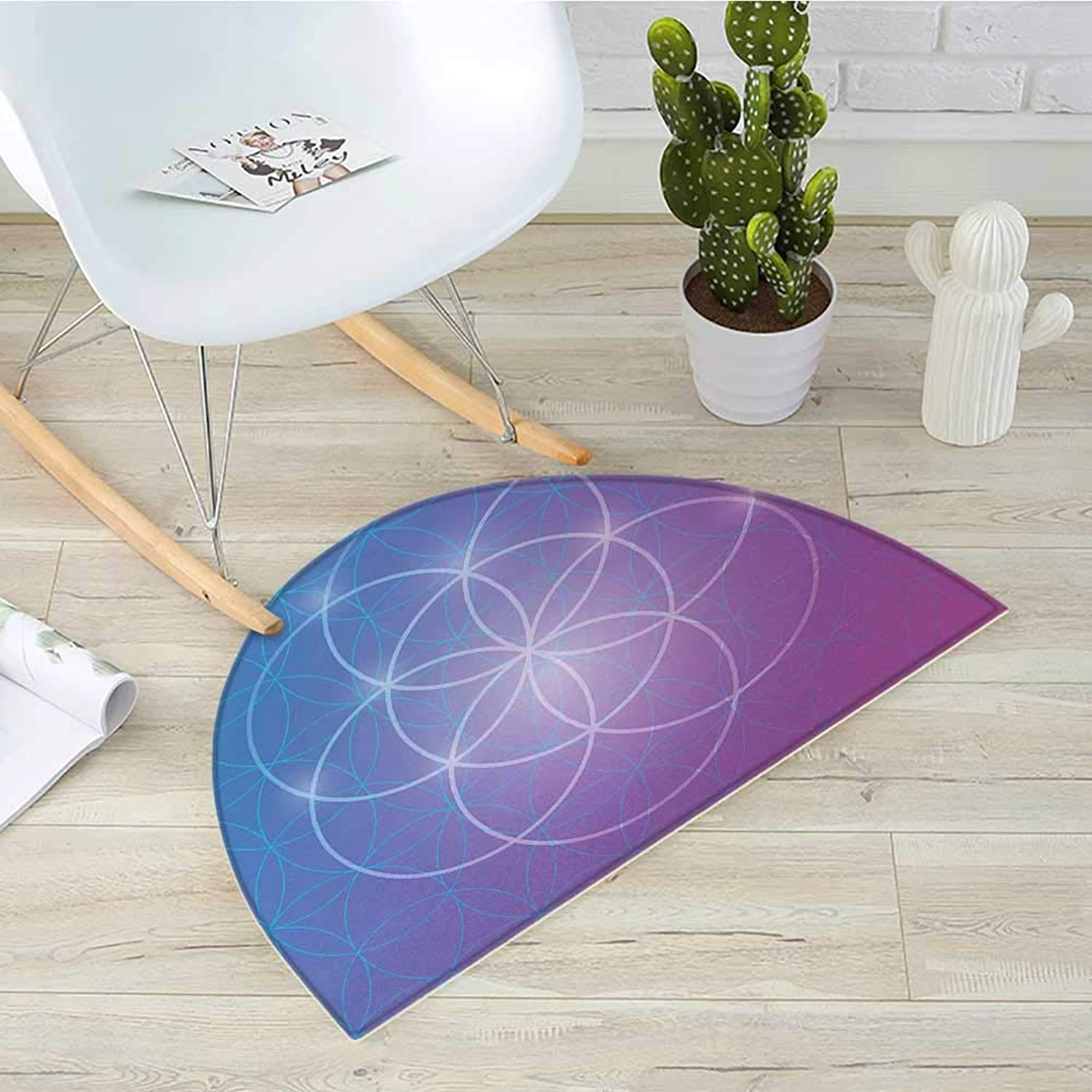 Sacred Geometry Semicircle Doormat Round Forms in Two Dimensional Space Axis Historical Artifact Image Halfmoon doormats H 43.3  xD 64.9  bluee and Purple