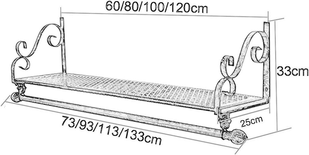 Fkdeyijia Barra de exhibici/ón de Ropa de Hierro Industrial Estante de Almacenamiento for Colgar Ropa Barra de Toalla de 80//100 // 120cm de Longitud Size : 80x10cm Estante de Ropa de Pared