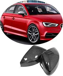 MCARCAR KIT Mirror Cover fits Audi A3 S3 RS3 8V 4Door 2014-2018 Replacement Factory Outlet Carbon Fiber CF Rearview Side Rearview Mirror Caps Car Exterior Outside Shell(without Side Assist)
