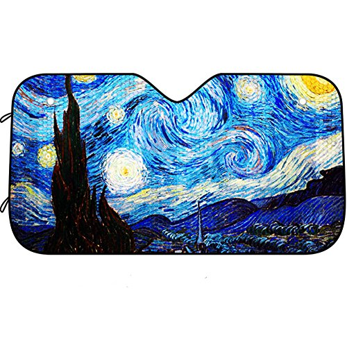 Van Gogh Starry Sky Car Windshield Sun Shade Universal Fit Car Sunshade-Keep Your Vehicle Cool. UV Sun and Heat Reflector