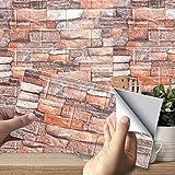 10PCS Papel Pintado, Papel Adhesivo Papel Pintado Ladrillo Vinilo 3D Efecto Ladrillo Impermeable, para Sala de Estar Habitación Cocina Comedor Fondo de TV, 35 x 38 cm(rojo retro)