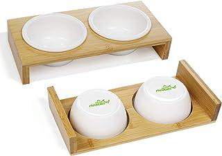 Rhinocats 餌皿 猫ボウル スタンド 陶器 えさ入れ ごはん皿 お水入れ 食卓式 食事台 ダブルボウル ペット天然竹製 食器 成猫 子猫