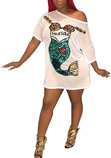 55583834c6e Remelon Womens Casual Short Puff Sleeve Digital Graffiti Print Loose Tunic  T-Shirt Mini Dress