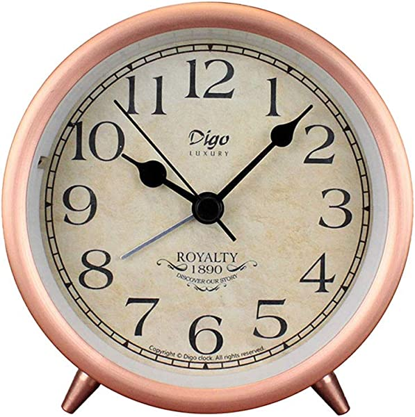4in Table Clock Rose Gold Retro Classic Metal Non Ticking Small Mini Table Alarm Clock Battery Operated Desk Clock With Backlight HD Glass For Kids Decor Bedroom Arabic