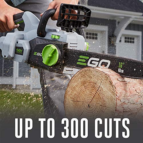 EGO Power+ CS1604 16-Inch 56-Volt Lithium-ion Cordless Chainsaw - 5.0Ah Battery and Charger Included , Black