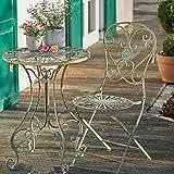 Sungmor Ensemble Table de Jardin Rustique en Fer forgé Style Shabby Rustique pour intérieur ou extérieur One Table