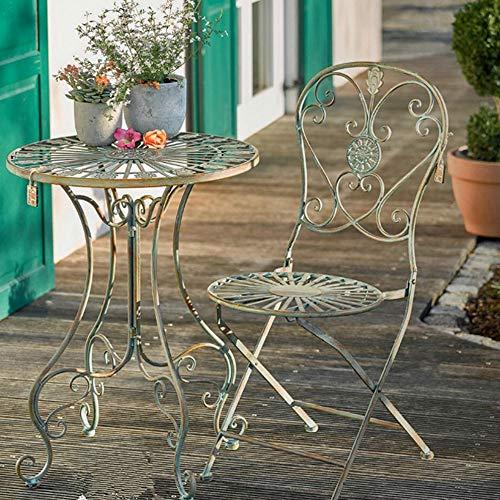 Sungmor - Juego de Mesa y Silla de jardín de Hierro Forjado Estilo rústico francés | Muebles Decorativos para Interiores y Exteriores para jardín o Patio, Two Chairs