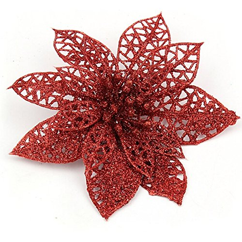 ERERER Artificial Christmas Decoration Flowers-Hollow Artificial Flowers with Clips, Christmas Decorations, Suitable for Christmas Tree Garlands, Seasonal Wedding Decorations, Gold/Silver/red
