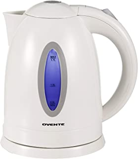 Ovente BPA-Free Electric Kettle 1.7 Liter with Auto Shut-Off and Boil-Dry Protection, White (KP72W)