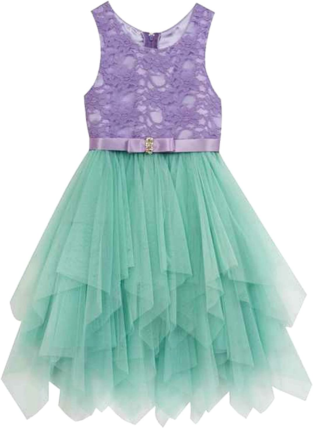 Rare Editions Girls Party Dress Purple Lace Mint Tulle Dress