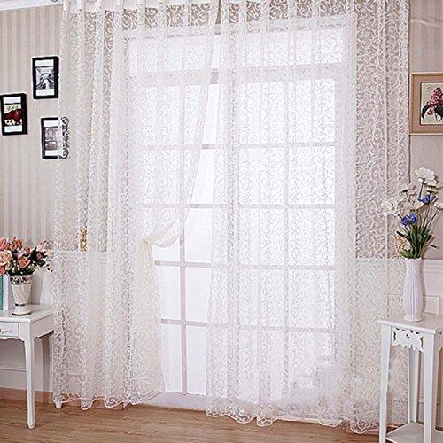Cortinas de tul drapeadas con cenefas transparentes, para puertas o ventanas. Ideales para tu habitación, baño, living o para el dormitorio de los niños, Blanco, 100 l x 200 h centimeters