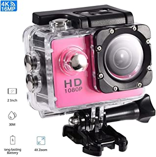 Tosuny Cámara de acción DV Cámara Impermeable al Aire Libre Mini DV cámara de Videocámaras de acción Soporte USB TF Tarjeta(Rosa)