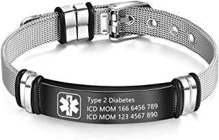 Wendy Made Medical Alert Bracelet for Men & Women Adjustable Free Engrave Stainless Steel Emergency Medical ID Bracelets Medic Alert Bracelet Health Alert Bracelets