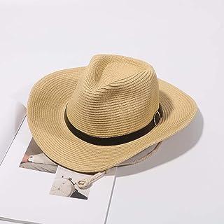 قبعات Dreamyn Retro من القش الغربي راعي البقر قبعات الصيف واسعة الحواف الشاطئ الشمس للنساء والرجال