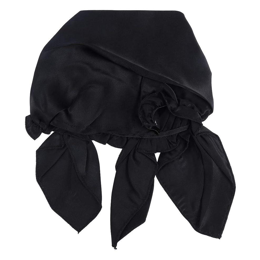 アベニューうがい薬芝生SUPVOX シルクシャワー睡眠帽子、調節可能な弾性リボン付き女性用ロングヘア(黒)