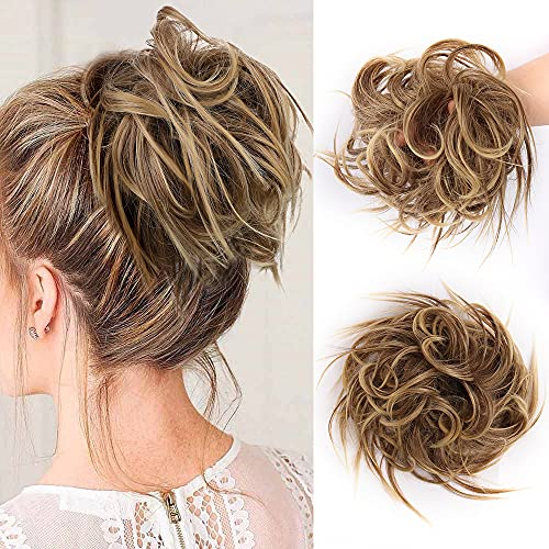 Gx Beauty Tousled Updo Messy Bun Hair Piece With Elastic Rubber Band Extensions Hairpiece Synthetic Hair Extensions Scrunchies Updo Hairpiece for Women Daily Use (86T10#)