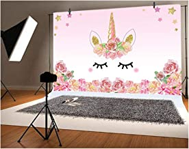 Laeacco 5x3ft Photography Background Unicorn Birthday Party Photo Backdrop Background Watercolor Flowers Roses Cute Stars Smiling Face Baby Shower Unicorn Head Sweet Pink Girls Photo Portrait Stduio