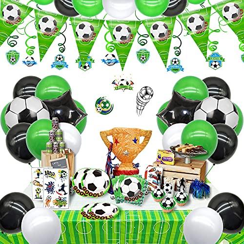 uministros de fiesta de fútbol para el día del juego de cumpleaños, decoración de cumpleaños y globo de cumpleaños y etiqueta engomada del tema del fútbol para los niños, los fanáticos del fútbol