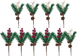 EXCEART 10個の人工ベリーピッククリスマス松ぼっくりピック茎松葉ベリー枝飾りDIY工芸品フェスティバルクリスマスツリーリース花輪フィラー写真小道具