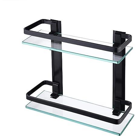 KES Estanteria Baño Aluminio Baldas Pared Cristal para Baño Estanteria Ducha Negro 35 x 12 CM (2 Pisos Vidrio Templado), A4126B-BK