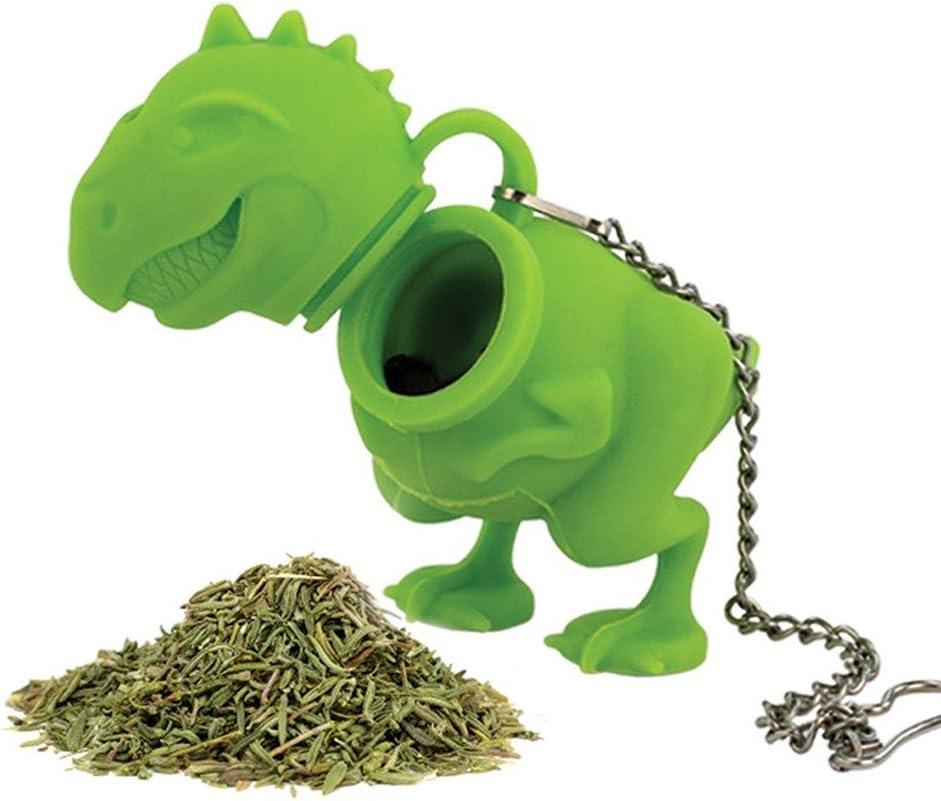 GENENIC Creative Silicone Dinosaur Tea Infuser Loose Leaf Strainer Herbal Filter Green