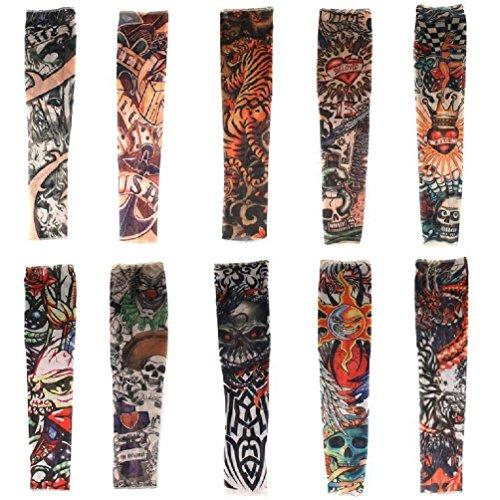 Haimoburg Set di 10 Maniche di Alata Qualita in Nylon Elastiche Costume Tattoo Finto