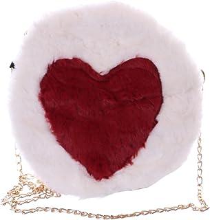 Kawaii-Story LB-7044-3 Weiß rot Herz Plüsch flauschig Faux-Fur Damen Mini Party Umhänge Tasche Pastel Goth