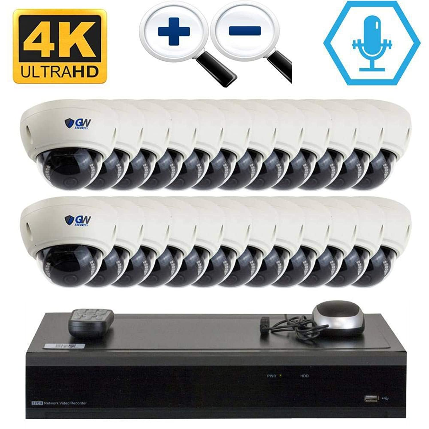 GW 32CH H.265 PoE NVR Ultra-HD 4K (3840x2160) Video & Audio Security Camera System with 24 x 4K (8MP) Microphone 3X Motorized Zoom IP Dome Camera, 100ft Night Vision, 16TB HDD
