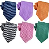 WeiShang Lot 6 PCS Classic Men's 100% Silk Tie Necktie Woven JACQUARD Neck Ties (Style 8)