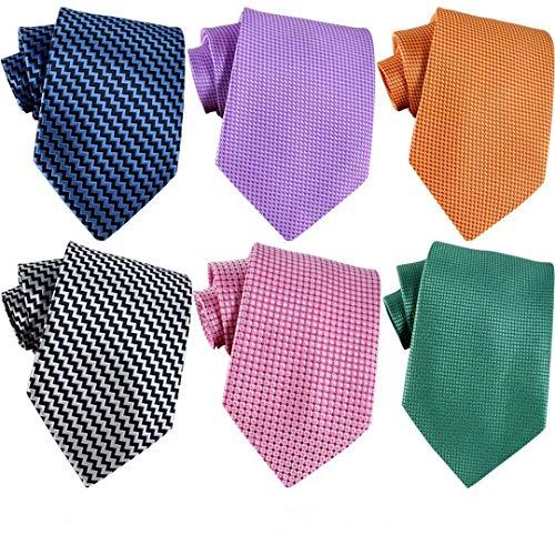 WeiShang Lot 6 PCS Classic Men's 100% Silk Tie Necktie Woven JACQUARD Neck Ties (Style 8)
