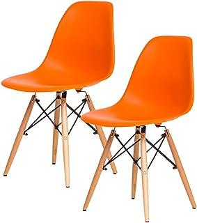 【不朽の名作 イームズDSW】(お得な2個セット) 人気の木脚(DSW)ダイニングチェアー チャールズ・レイ・イームズ作品 リプロダクト 世界で有名なデザイナーズ椅子 訳あり (オレンジ色)