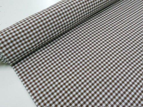Confección Saymi Metraje 2,45 MTS Tejido Vichy, Cuadro pequeño 5x5 mm. Color Marrón Choco, con Ancho 2,80 MTS.