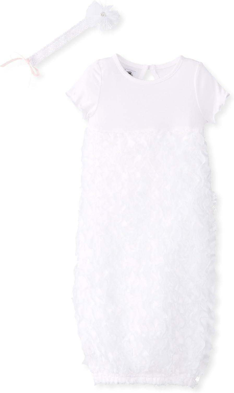 Mud Pie Baby-Girls Newborn White Chiffon Sleep Gown