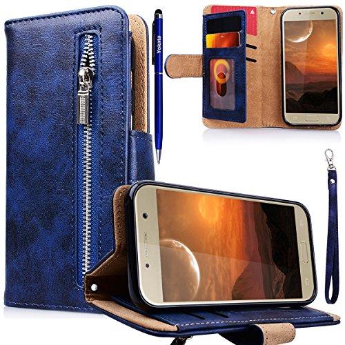 Yokata Kompatibel mit Hülle Samsung Galaxy A5 2017 Handyhülle Schutzhülle Leder PU Wallet Flip Case Lederhülle Klapphülle mit Kartenfach Standfunktion Klappbar Magnetisch - Tiefblau