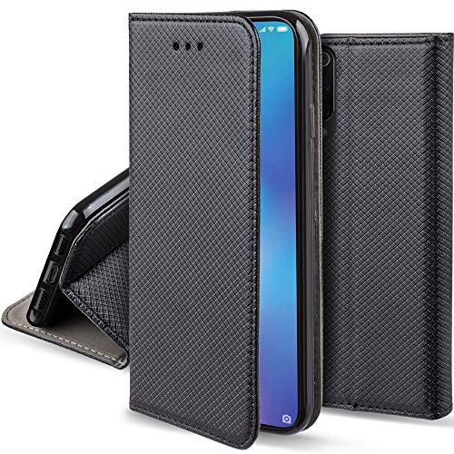 Moozy Funda para Xiaomi Mi 9 SE, Negra - Flip Cover Smart Magnética con Soporte y Cartera para Tarjetas