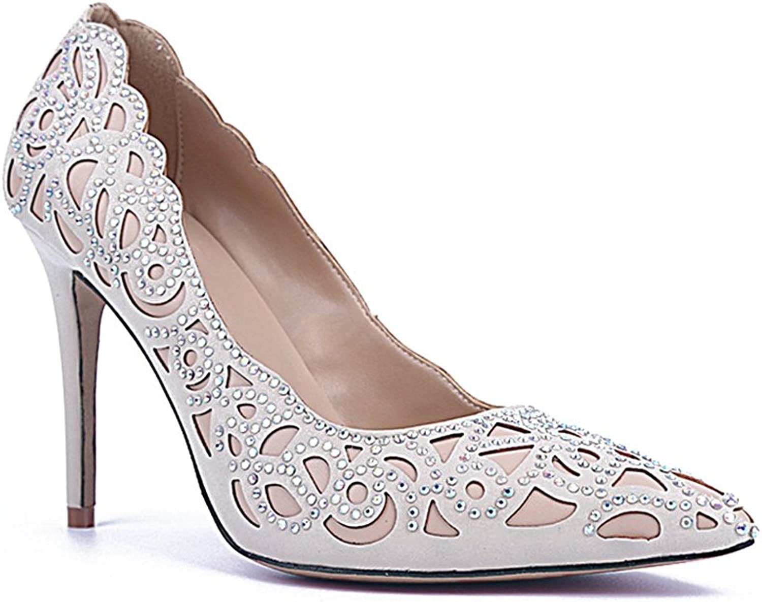 TDA Women's MA04174 Cut Out Floral Closed Toe Sheepskin Wedding Party Evening Prom Dress shoes