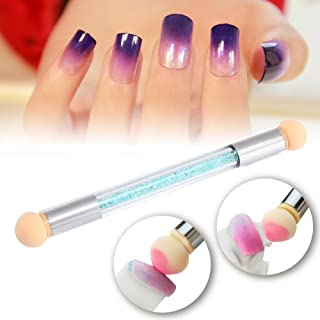 Nail Art Brush, Sponge Nail Pen, Dual Tipped Ombre Nail Art Sponge Brush for DIY Gradient Blooming UV Gel Nails (Blue)