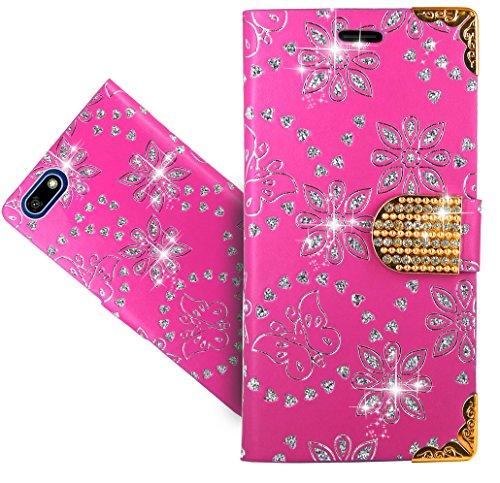 Huawei Y5 2018 / Y5 Prime 2018 / Honor 7S Handy Tasche, FoneExpert Wallet Hülle Cover Bling Diamond Hüllen Etui Hülle Ledertasche Lederhülle Schutzhülle Für Huawei Y5 2018 / Y5 Prime 2018 / Honor 7S