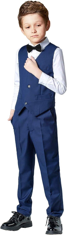 SaiLiiny Boys 4 Pieces Suits Slim Fit Outfits Bl Surprise price Rapid rise Black Sets Vest