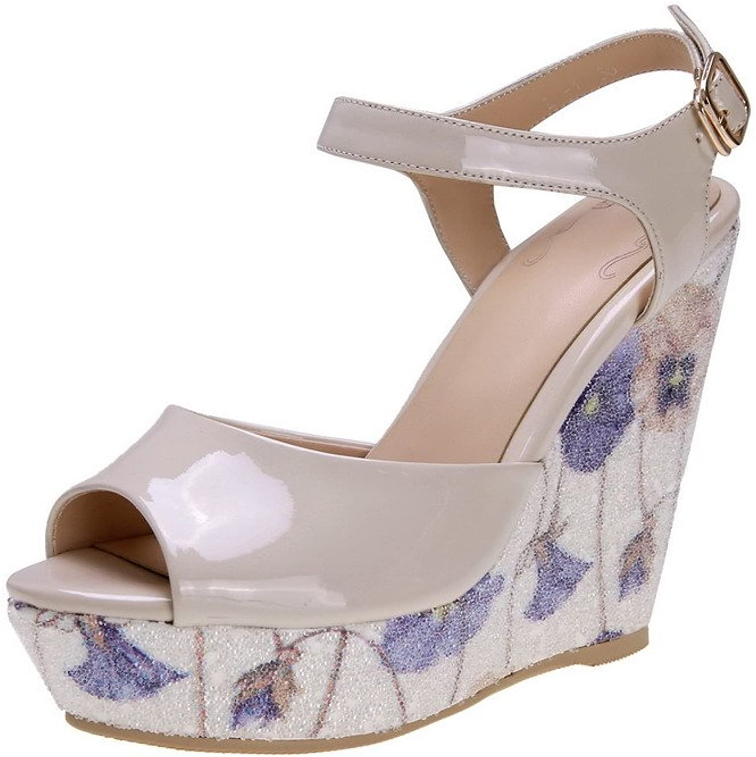 WeenFashion Womens Cow Leather Material Solid Sandals with Wedge and Peep Toes