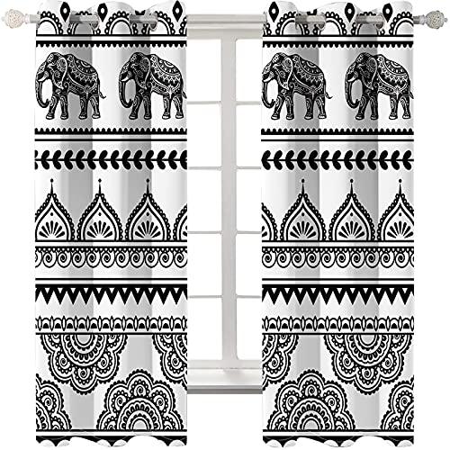 KLily Cortina De Elefante De Estilo Bohemio Agujero Redondo A Través De La Cortina De Varilla Cortinas Decorativas Adecuadas para Centros Comerciales, Hoteles Y Villas Espesar