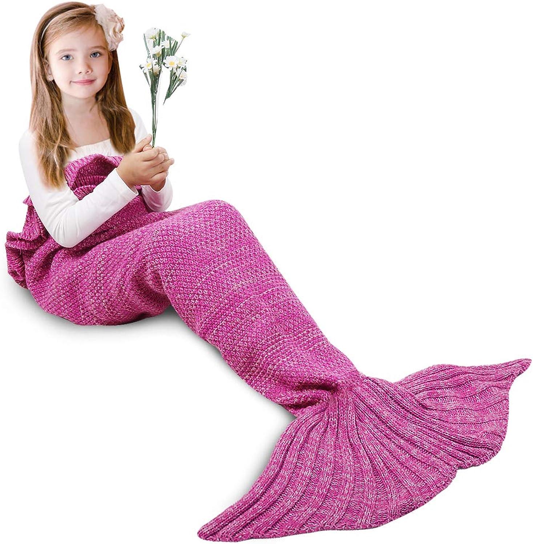 AmyHomie Mermaid Tail Blanket, Mermaid Blanket Adult Mermaid Tail Blanket, Credchet Kids Mermaid Tail Blanket for Girls (Pink, Kids)