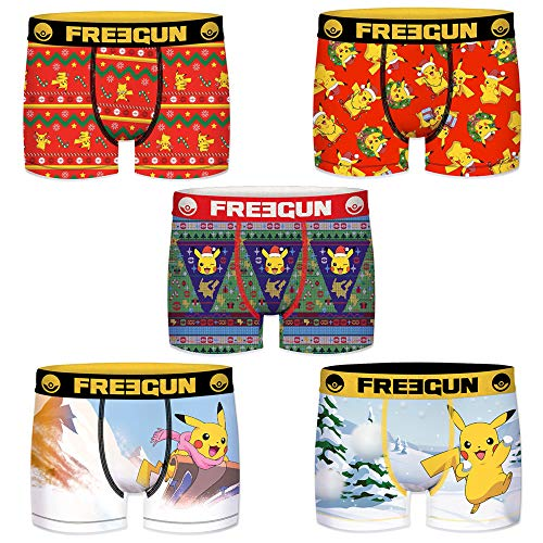 Freegun Herren-Boxershorts, Motiv: Pokemon, Pikachu, 5 Stück Gr. XXL, Weihnachtsgeschenk.