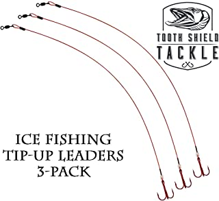 Tooth Shield Ice Fishing Tip up Leaders Blood Red Bleeding Wire Leader 3 - Pack 10